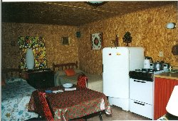 Cabin 4 Sleeping area and Kitchen